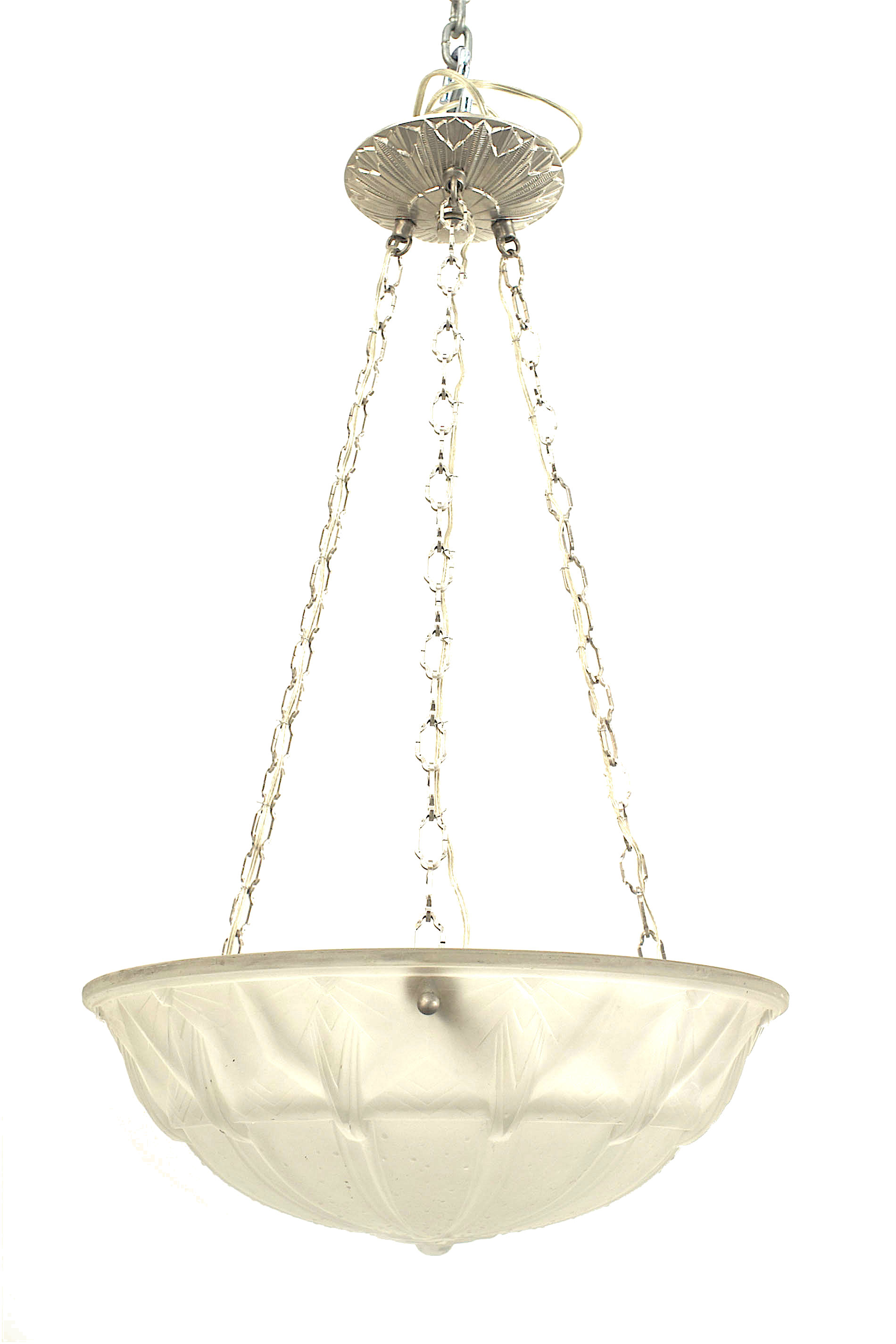 French art deco circa 1925 round pendant form frosted glass bowl 3 chains french art deco circa 1925 round pendant form frosted glass bowl form chandeliers with a fluted design and star finial bottom suspended by aloadofball Images