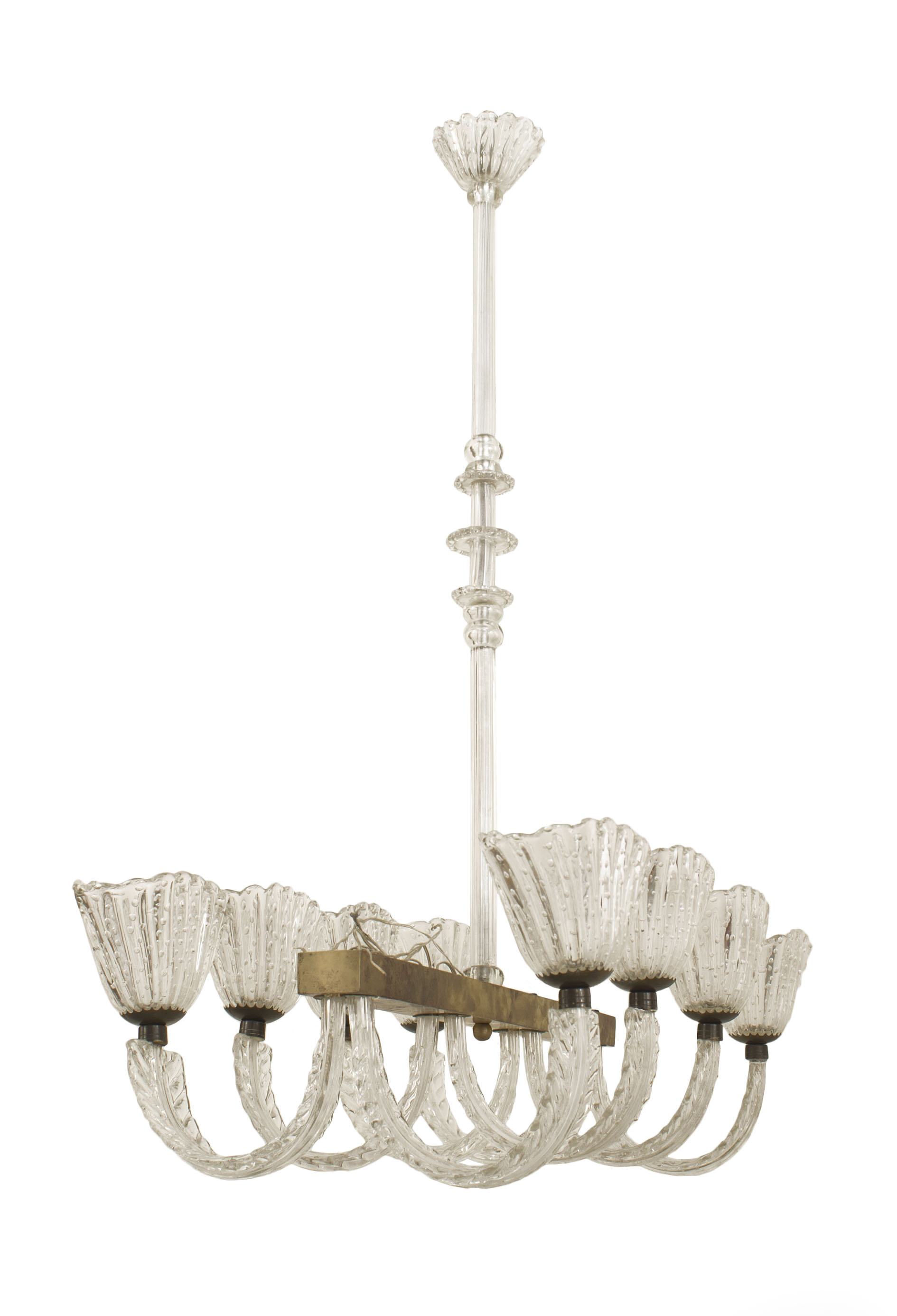 Italian 1940s chandelier with horizontal metal frame having 4 pair internal bubble design oval shades with a tiered centerpost by barovier et toso jkg1730 mid century italian lighting chandelier glass aloadofball Image collections