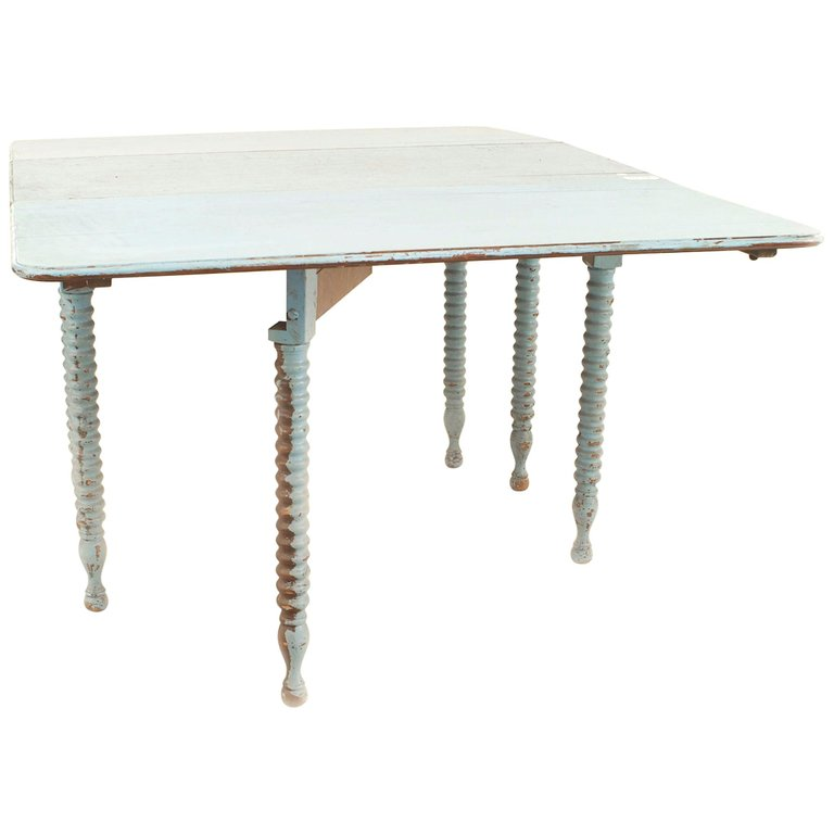 American Country Rustic Blue Painted Drop Leaf Table 1