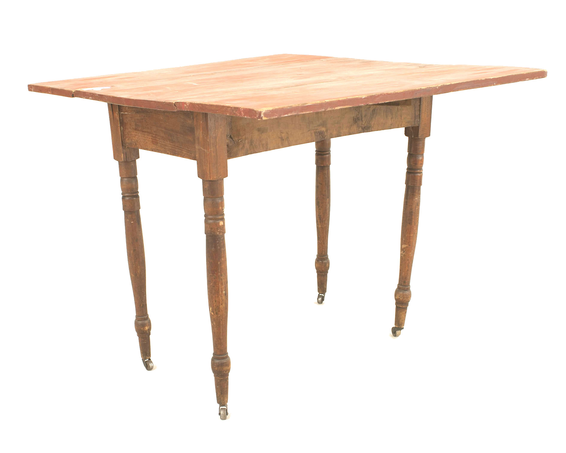 Surprising American Country Rustic Red Painted Drop Leaf Table Newel Bralicious Painted Fabric Chair Ideas Braliciousco