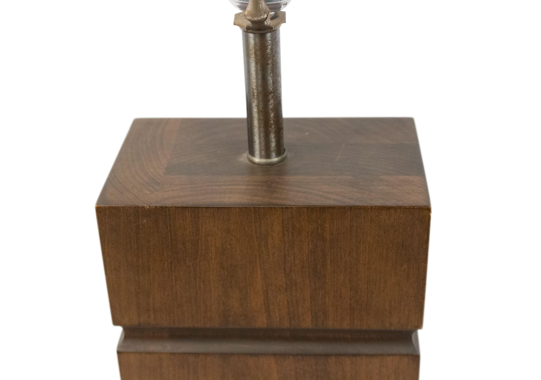 American Mid Century Wood Block Table Lamp