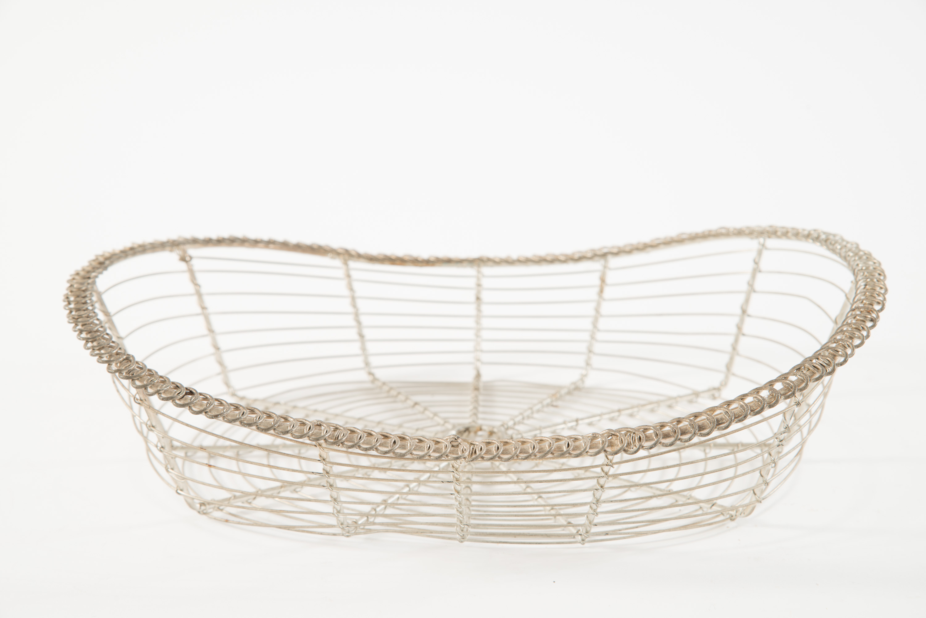 Vintage oval silver-colored wirework bread basket with looped ...