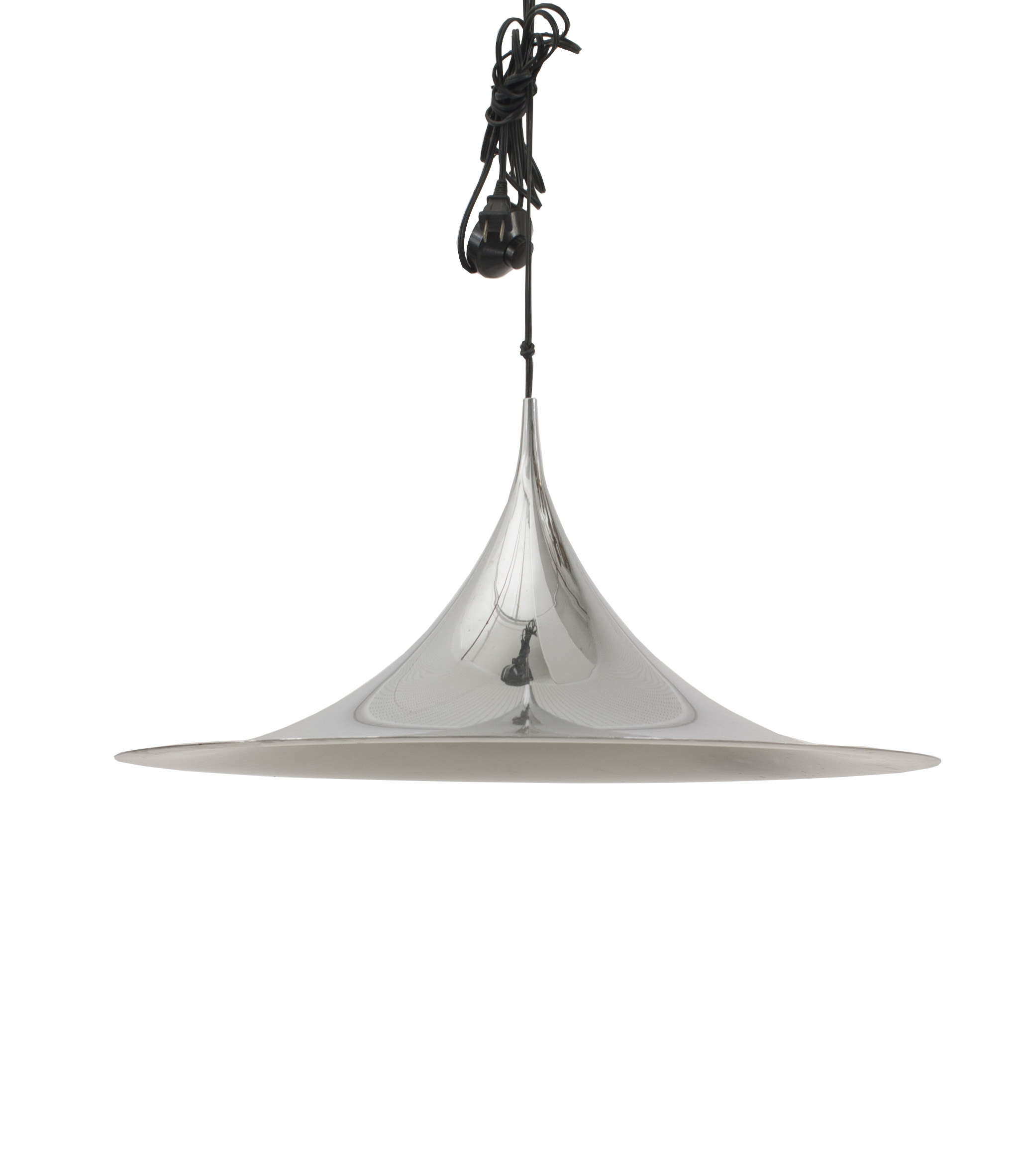 Contemporary cone-shaped chrome hanging electric light fixture with ...