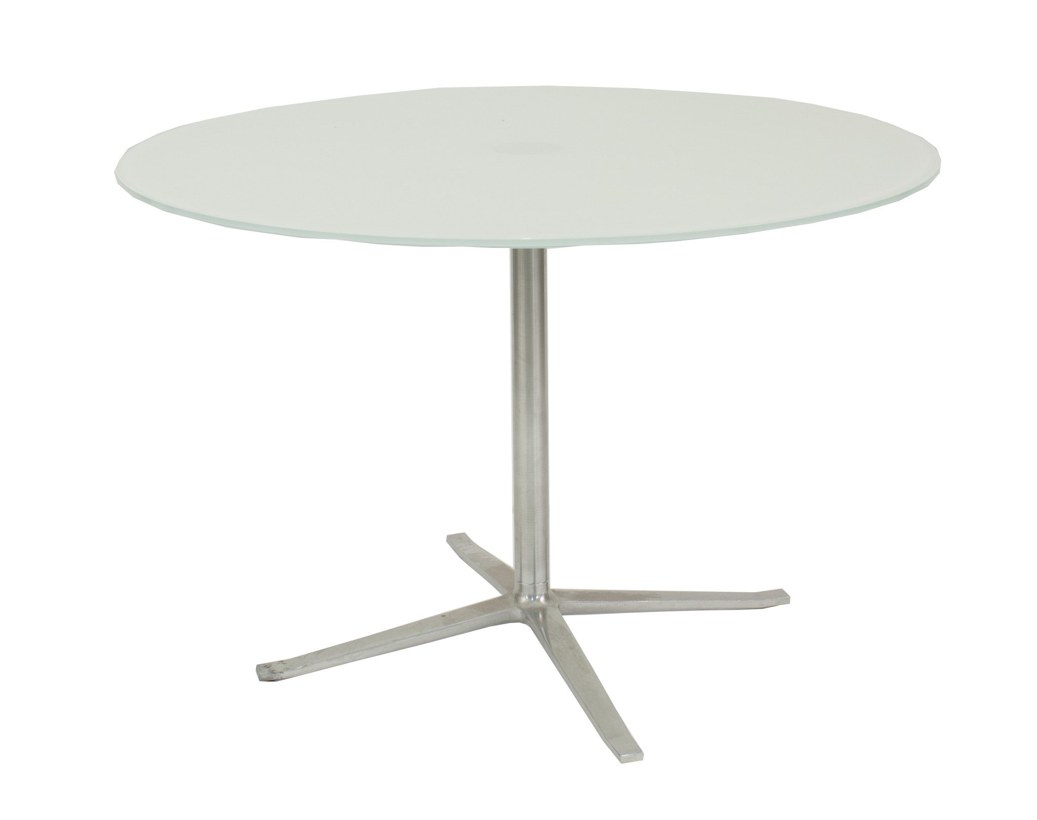 Contemporary Circular Dining Table With Back Painted White Glass Top - Conference table pedestal base