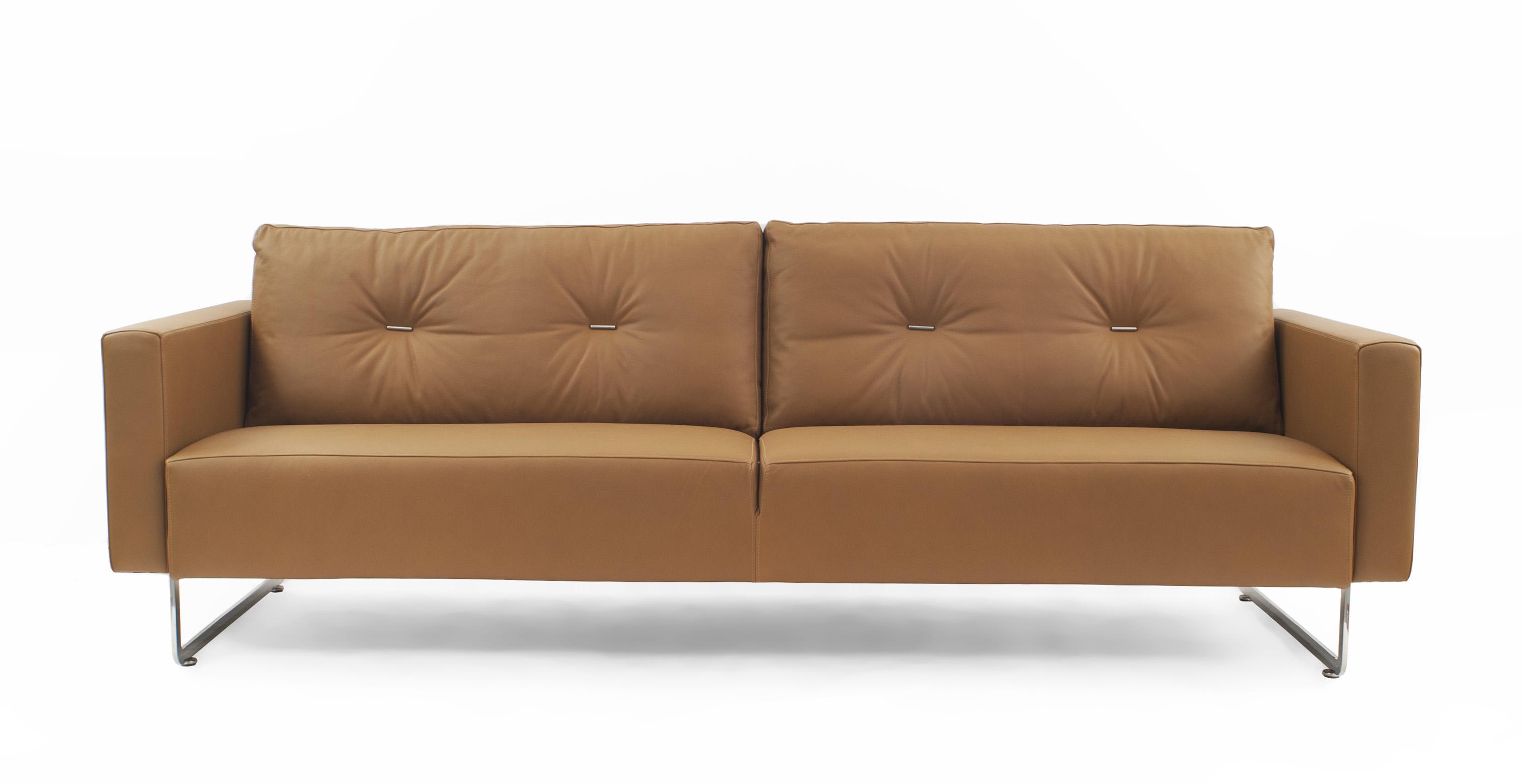 Contemporary caramel leather sofa | NEWEL