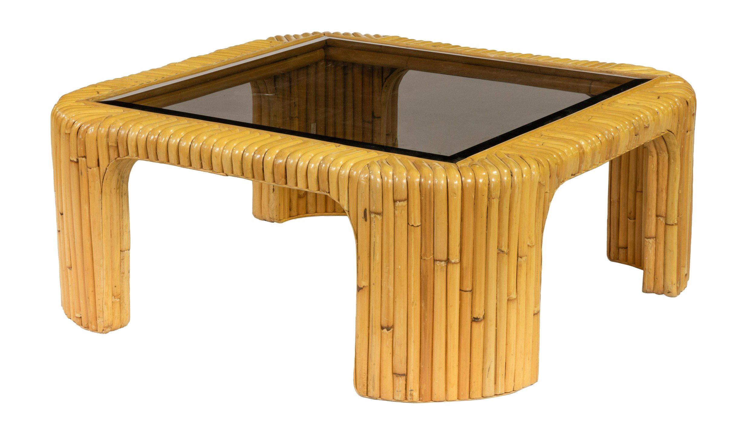 Contemporary Rattan Smoked Glass Coffee Table