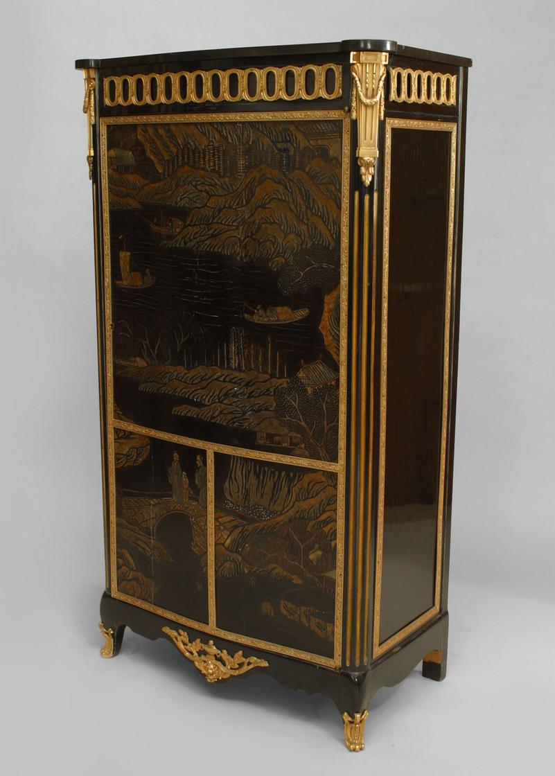 Merveilleux French Louis XVI Style (19th Cent) Narrow Single Door Cabinet With Ebonized  Carved Coromandel Chinoiserie Decoration And Gilt Bronze Trim With A Marble  Top