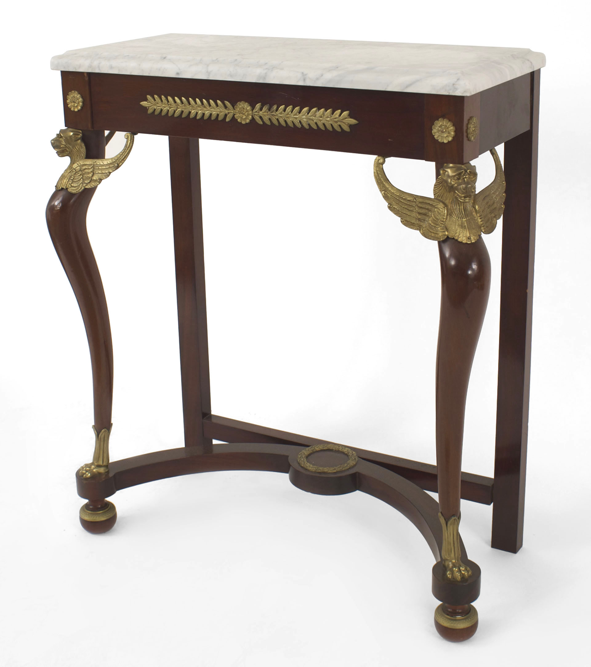 ... Cent) Mahogany Console Table With A Stretcher And Gilt Bronze Trim With  A Green Rectangular Marble Top PPF241 French  U003e Empire  U003e Table  U003e Console  Table ...