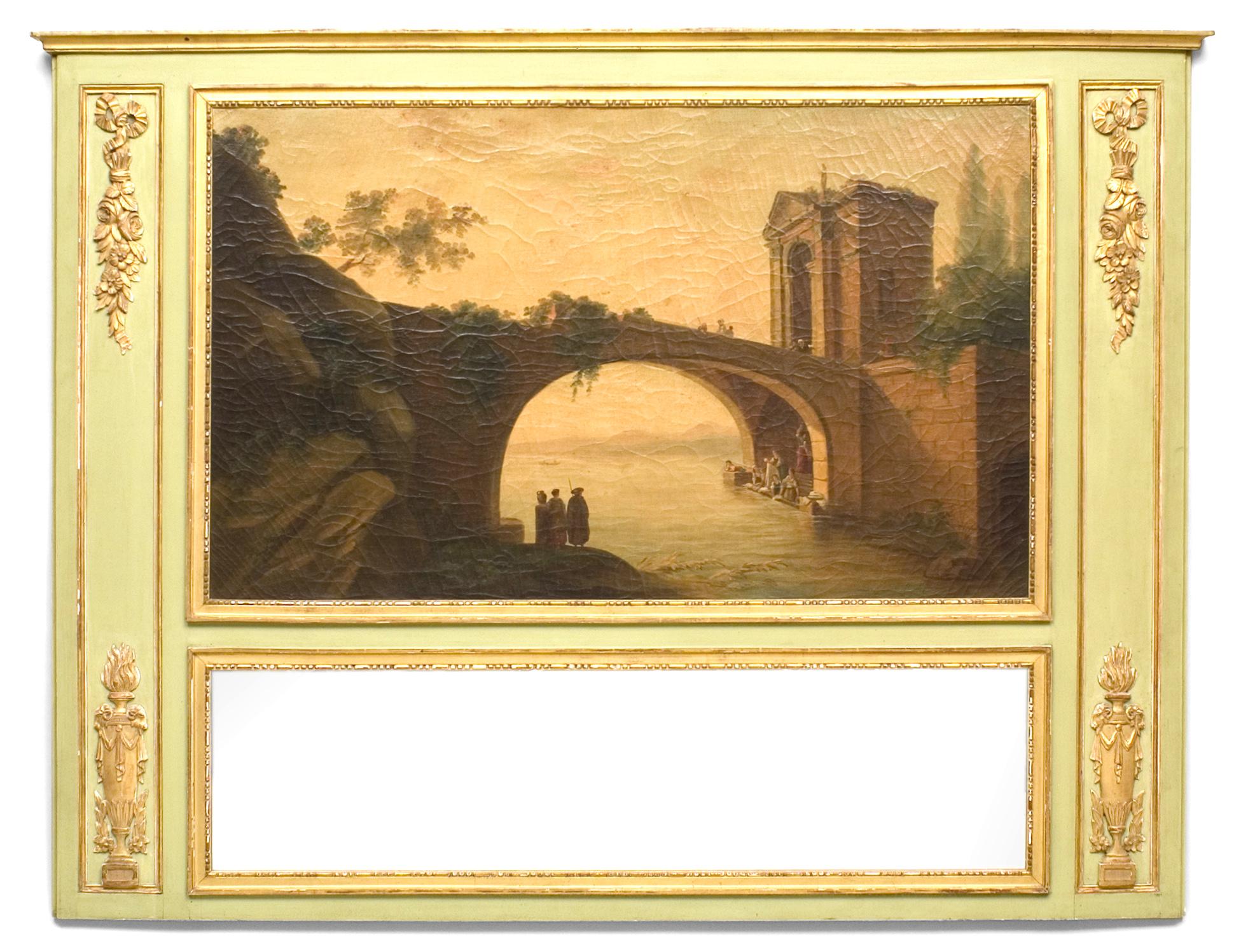 Italian Painted Scene Trumeau Wall Mirror 1