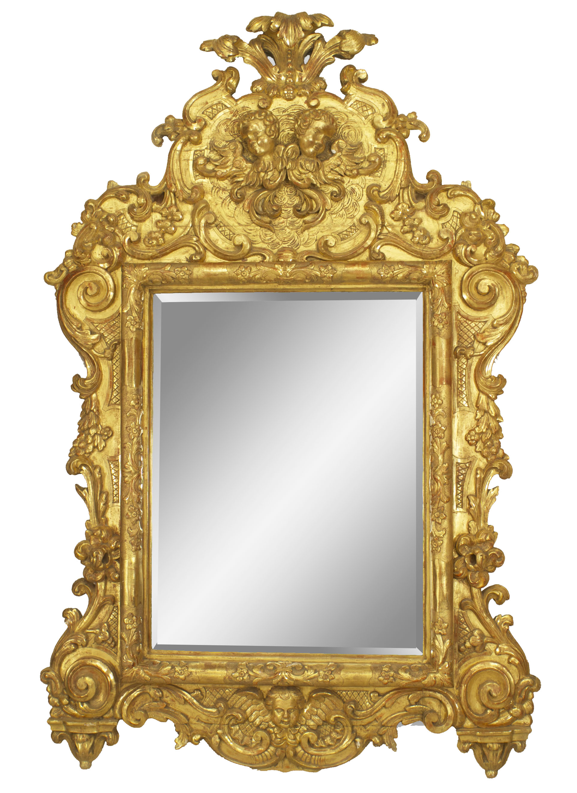 Italian Rococo (18th Cent) large gilt ornately carved wall mirror ...