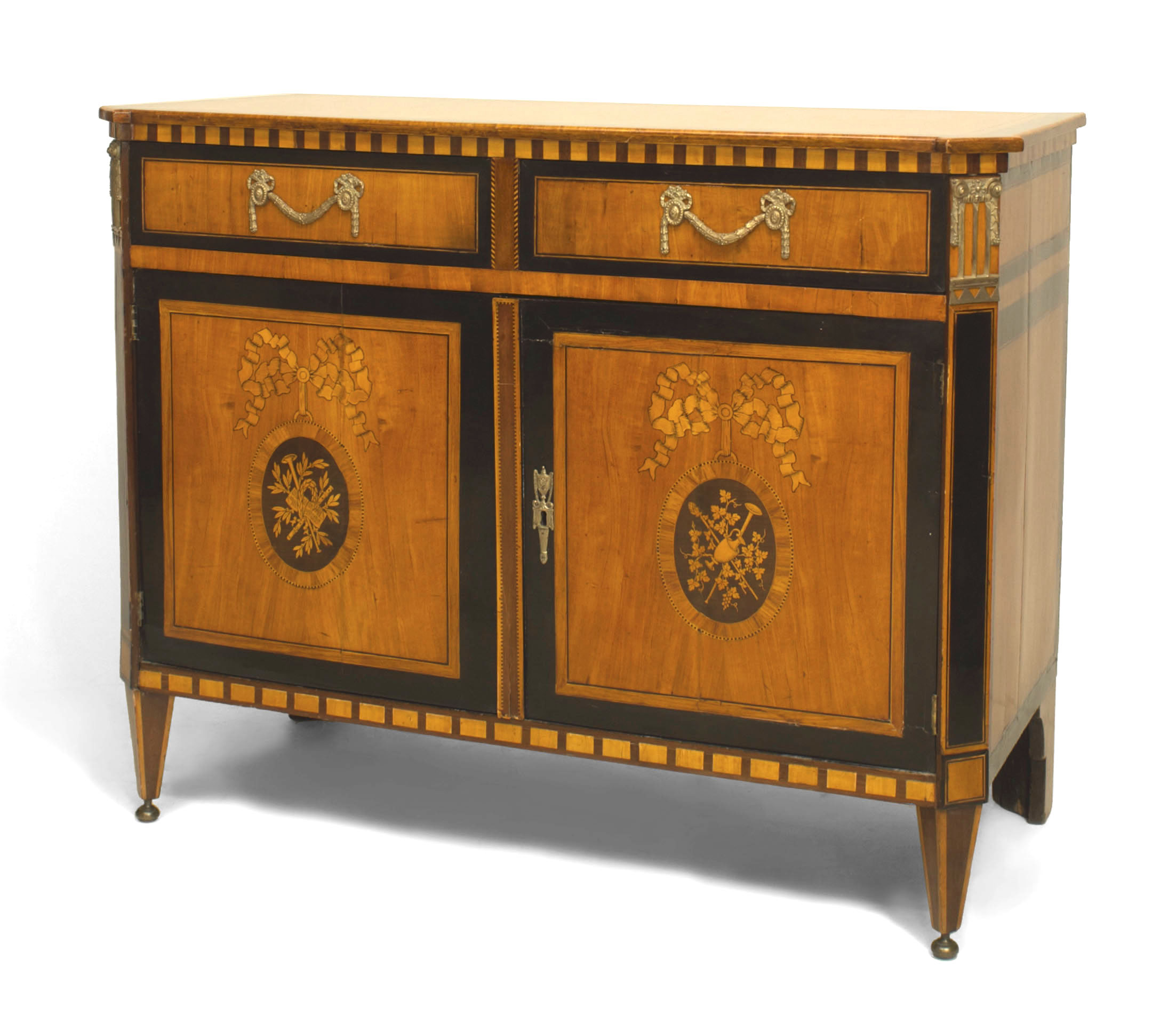 Continental Dutch Satinwood Commode Cabinet With 2 Drawers Above To Doors  With Floral Marquetry Panels (18th/19th Cent).
