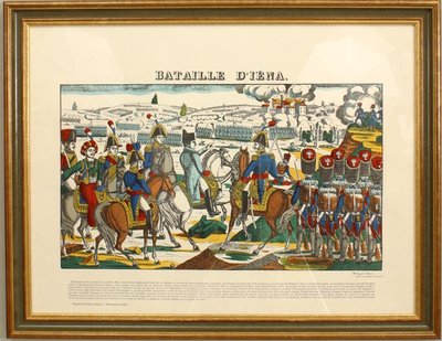 Color Landscape Print In Wood Frame Titled Battle Of Iena Showing Overview Napoleons Defeat The Prussians 1806