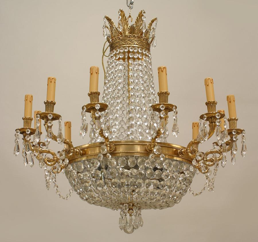 French louis xvi style modern chandelier with 12 arms supported by chandelier bronze in stock 1500000 mozeypictures Gallery