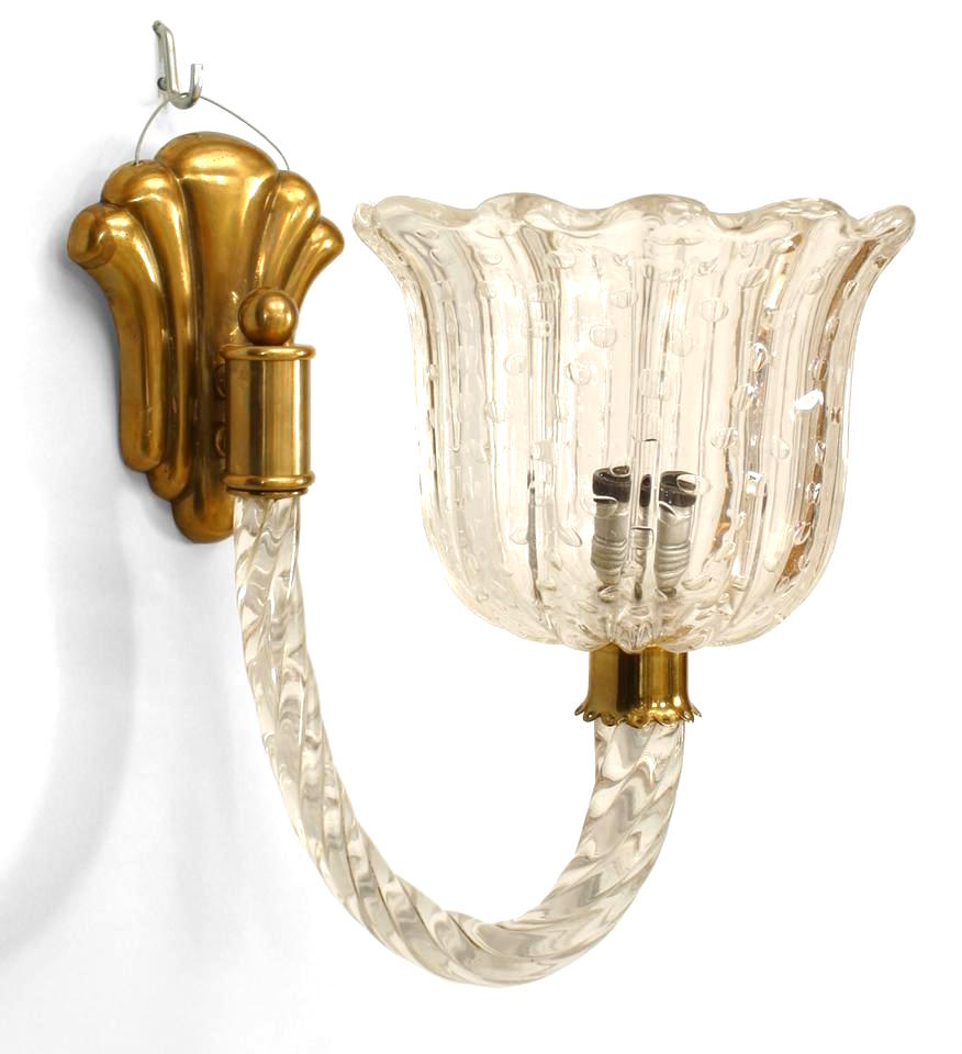Pair Of Italian 1930s Venetian Murano Clear Glass Wall Sconces With