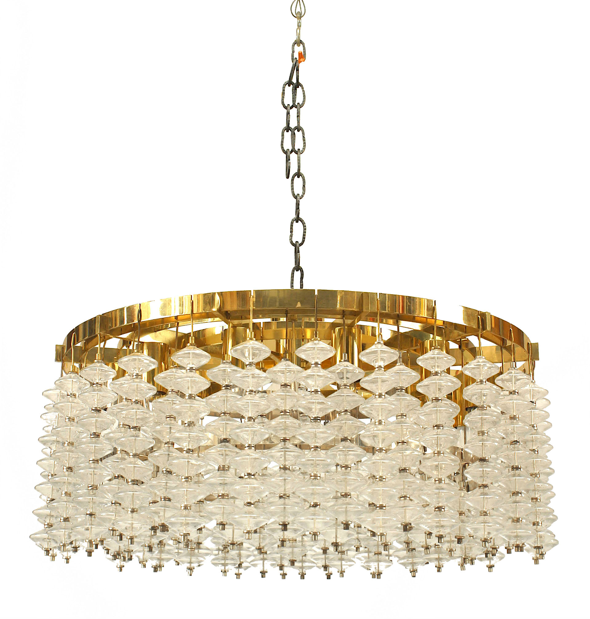 Italian Mid Century Bubble Glass And Brass Chandelier 4