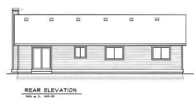 Rear Elevation Plan: 1-101