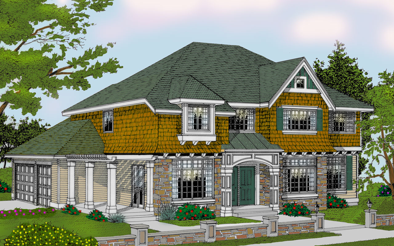 Shingle Style House Plans Plan: 1-118