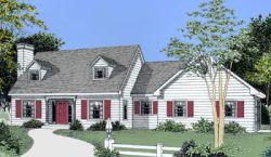 Cape-Cod Style Home Design Plan: 1-140