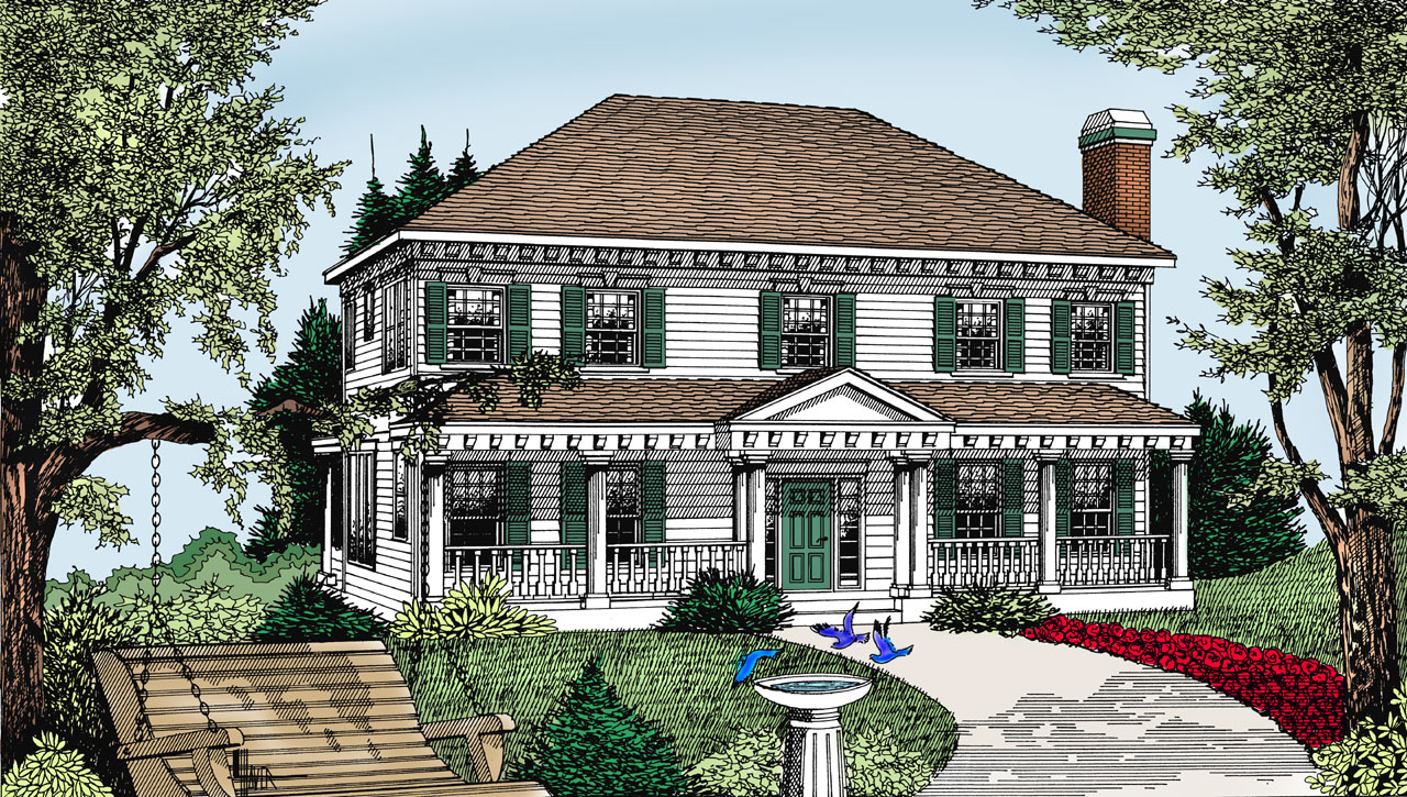 Southern-colonial Style Floor Plans Plan: 1-142