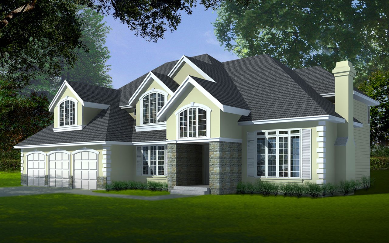 European Style Home Design Plan: 1-145