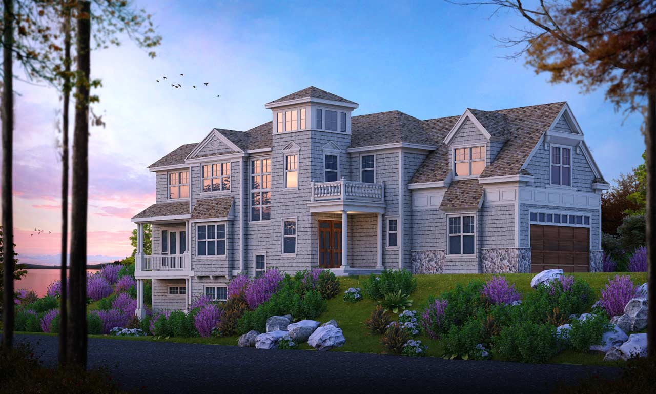 Shingle Style Home Design Plan: 1-158