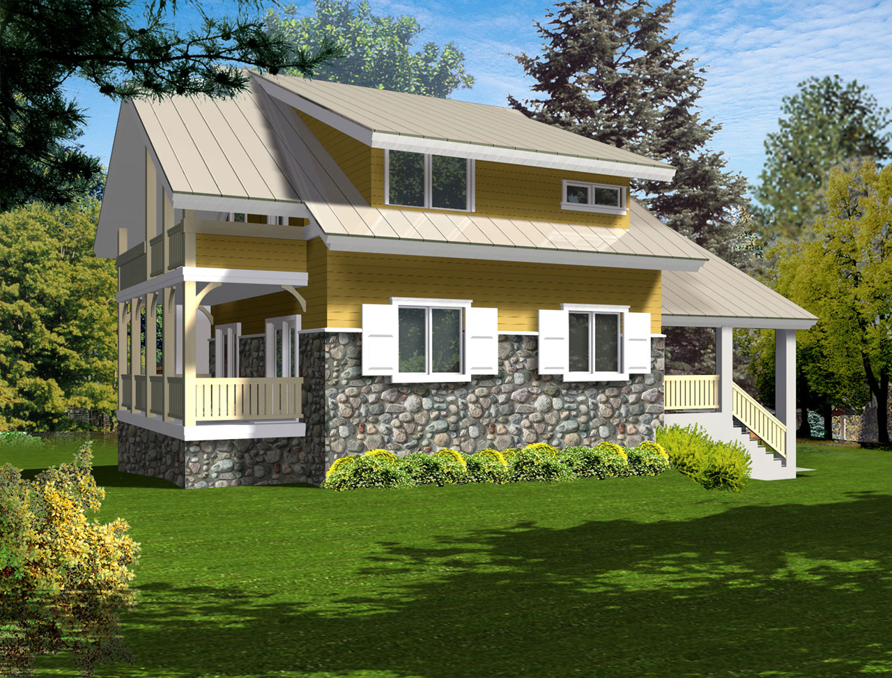 Bungalow Style House Plans Plan: 1-163
