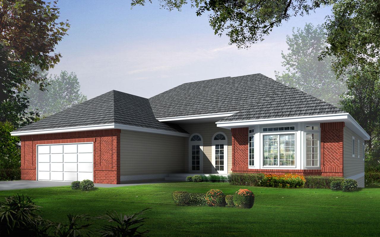 European Style Home Design Plan: 1-166