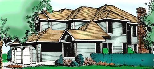 Traditional Style Home Design Plan: 1-201