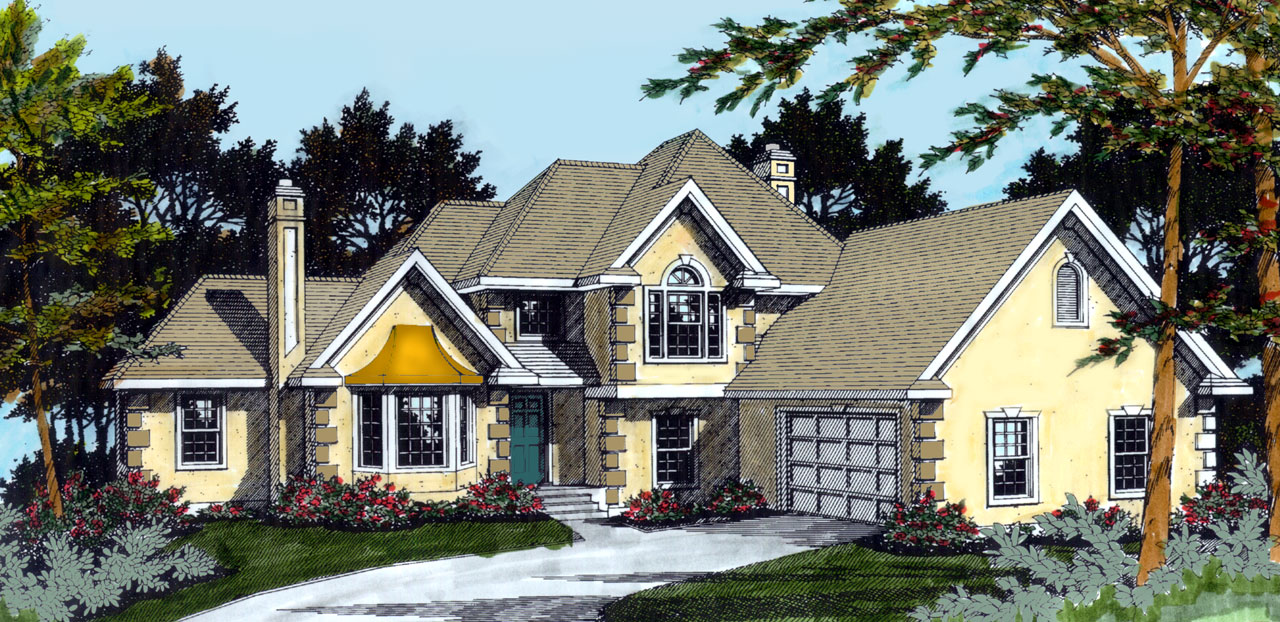 French-Country Style House Plans Plan: 1-202