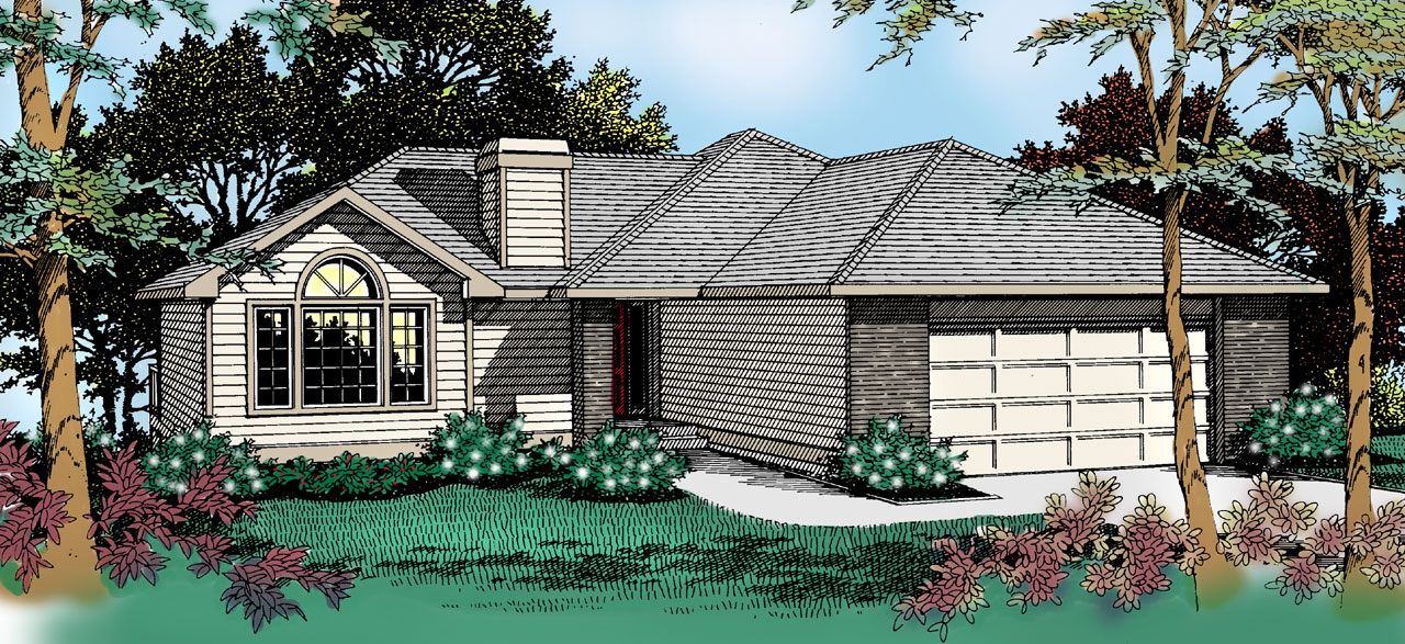 Traditional Style Home Design Plan: 1-203