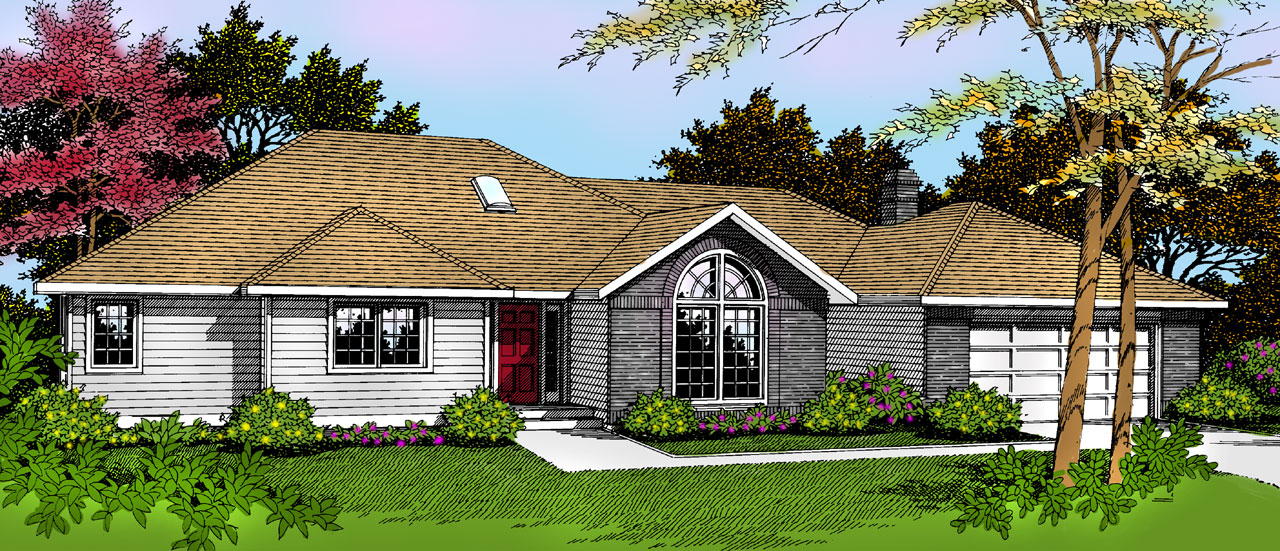 Ranch Style Home Design Plan: 1-213