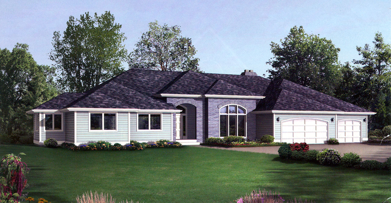 Northwest Style Home Design Plan: 1-214