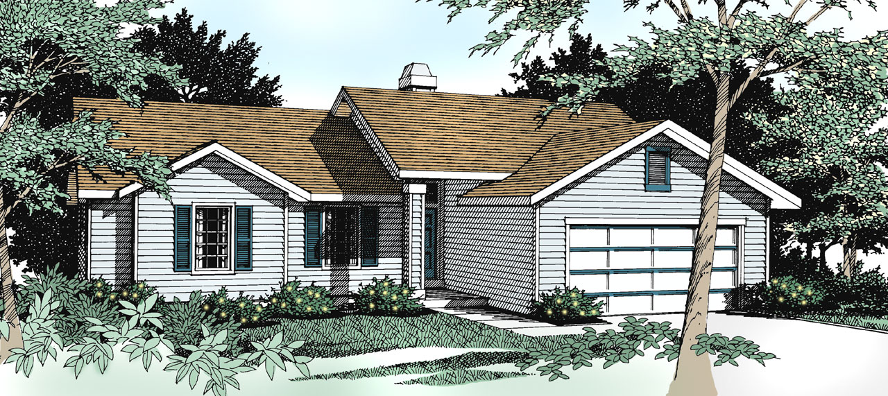Ranch Style Home Design Plan: 1-218