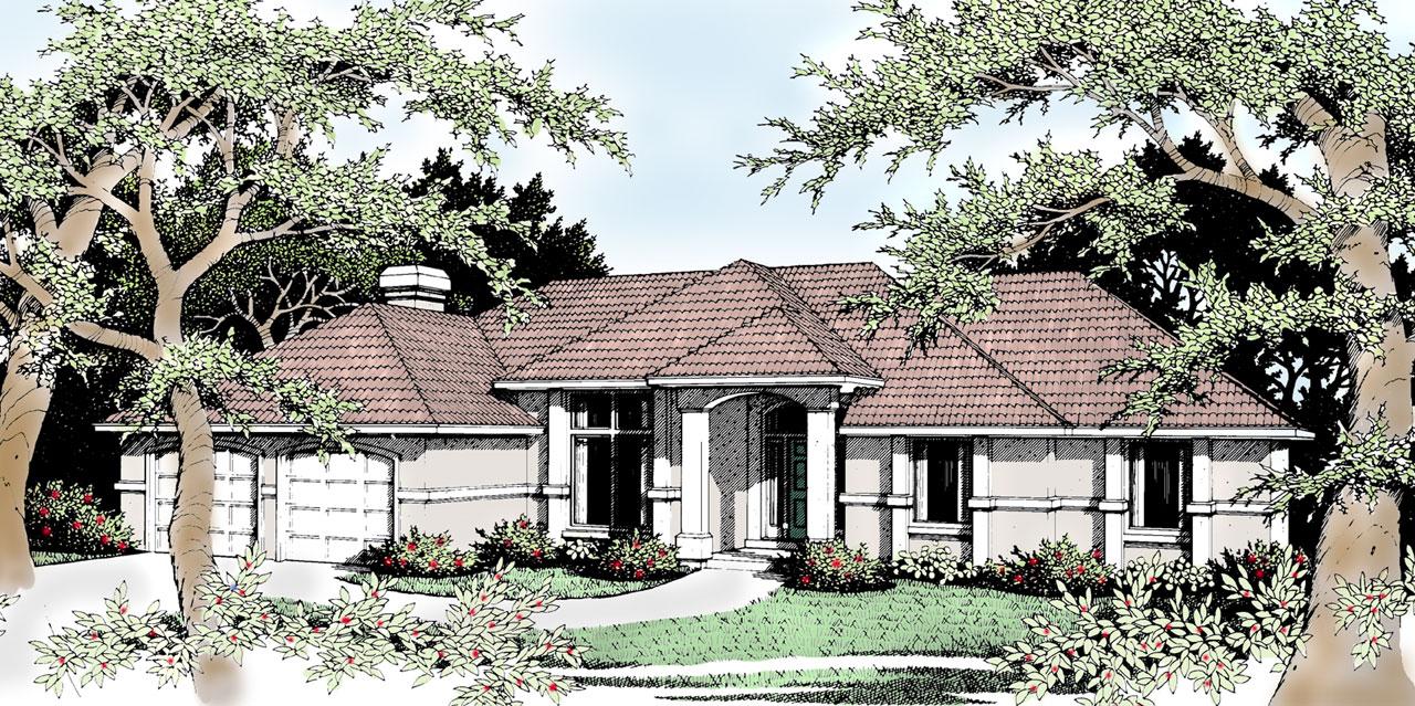 Mediterranean Style Home Design Plan: 1-229