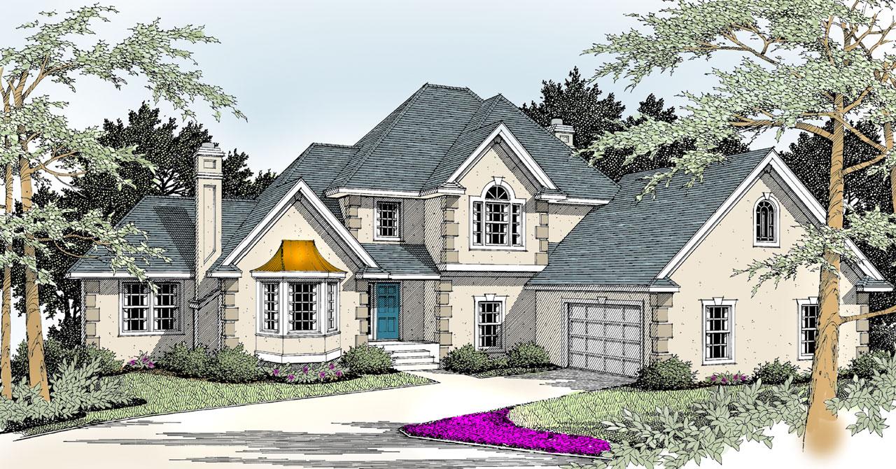 European Style Home Design Plan: 1-236