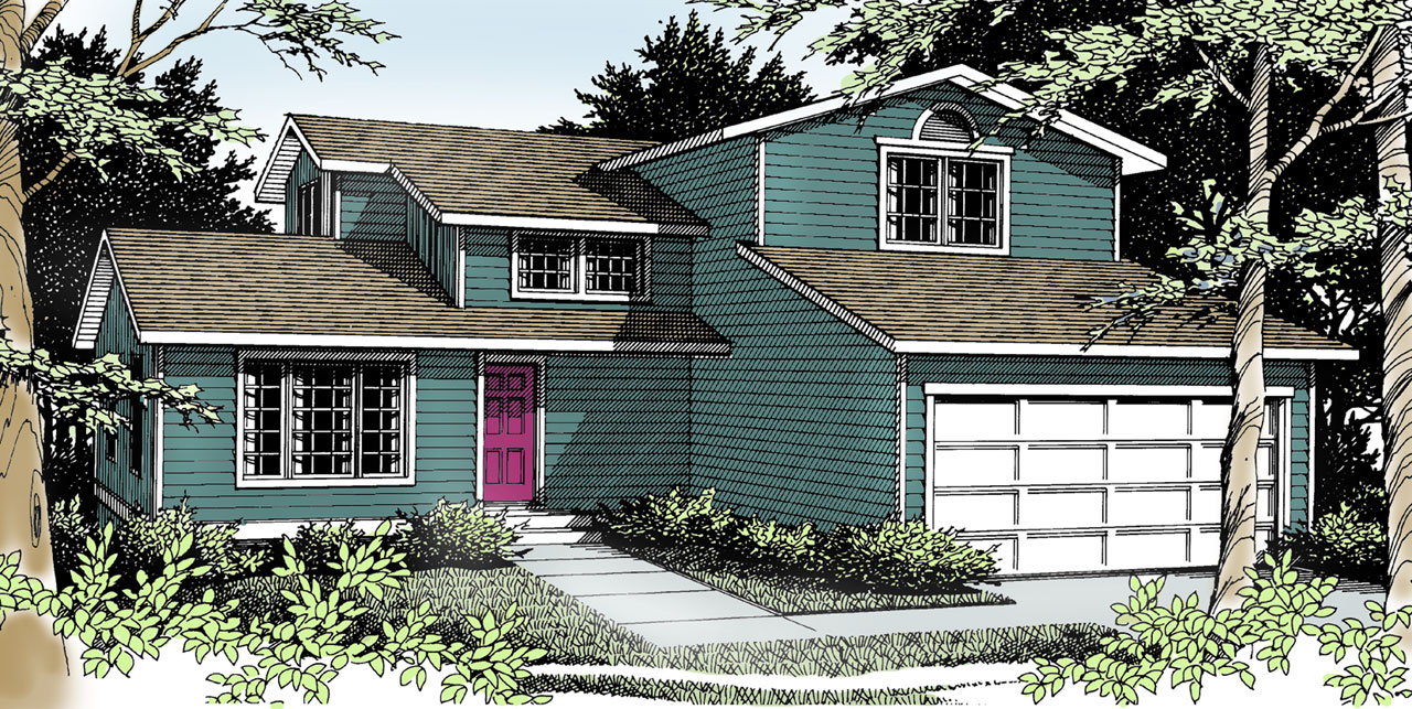 Northwest Style Home Design Plan: 1-240