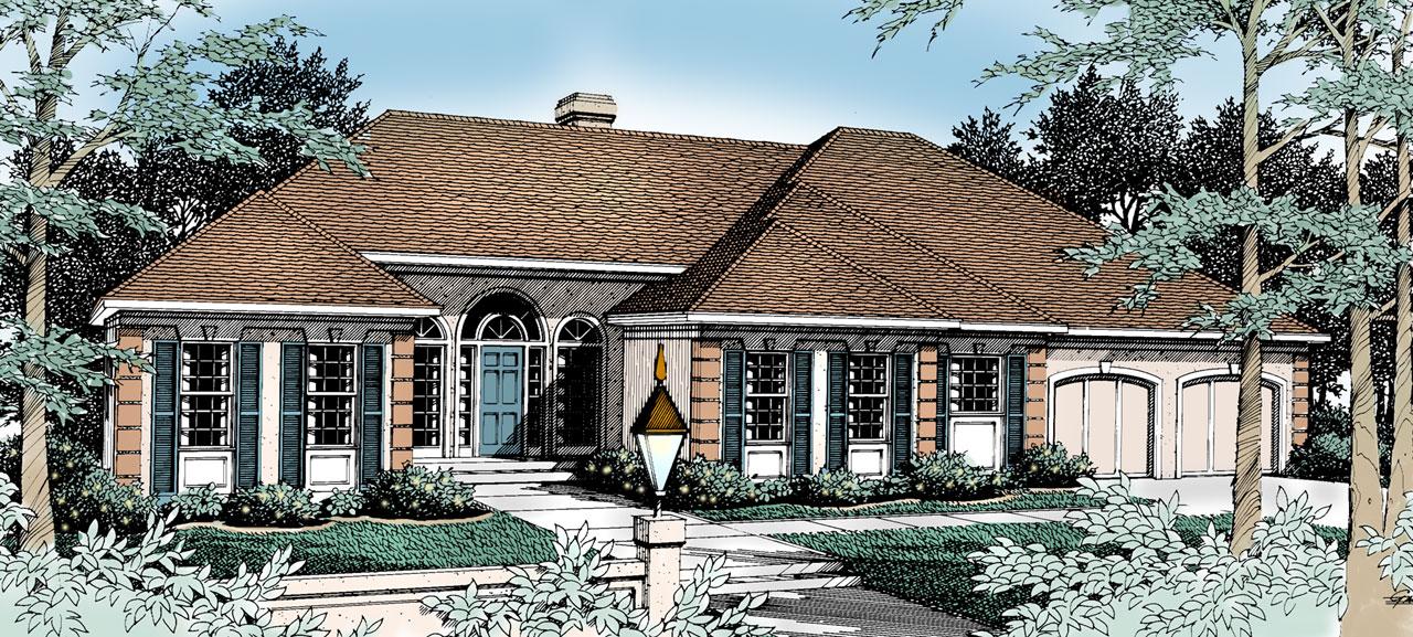 Mediterranean Style Home Design Plan: 1-244