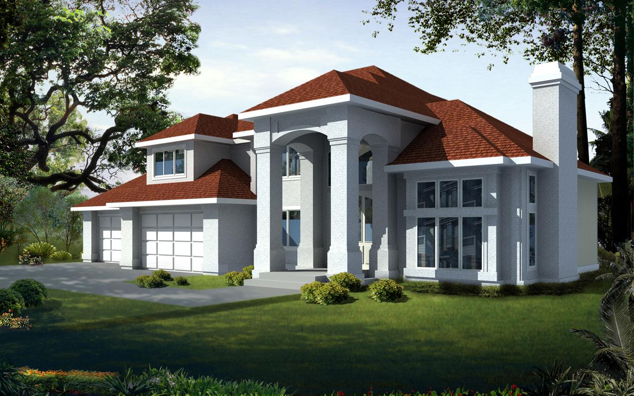 Mediterranean Style Home Design Plan: 1-258