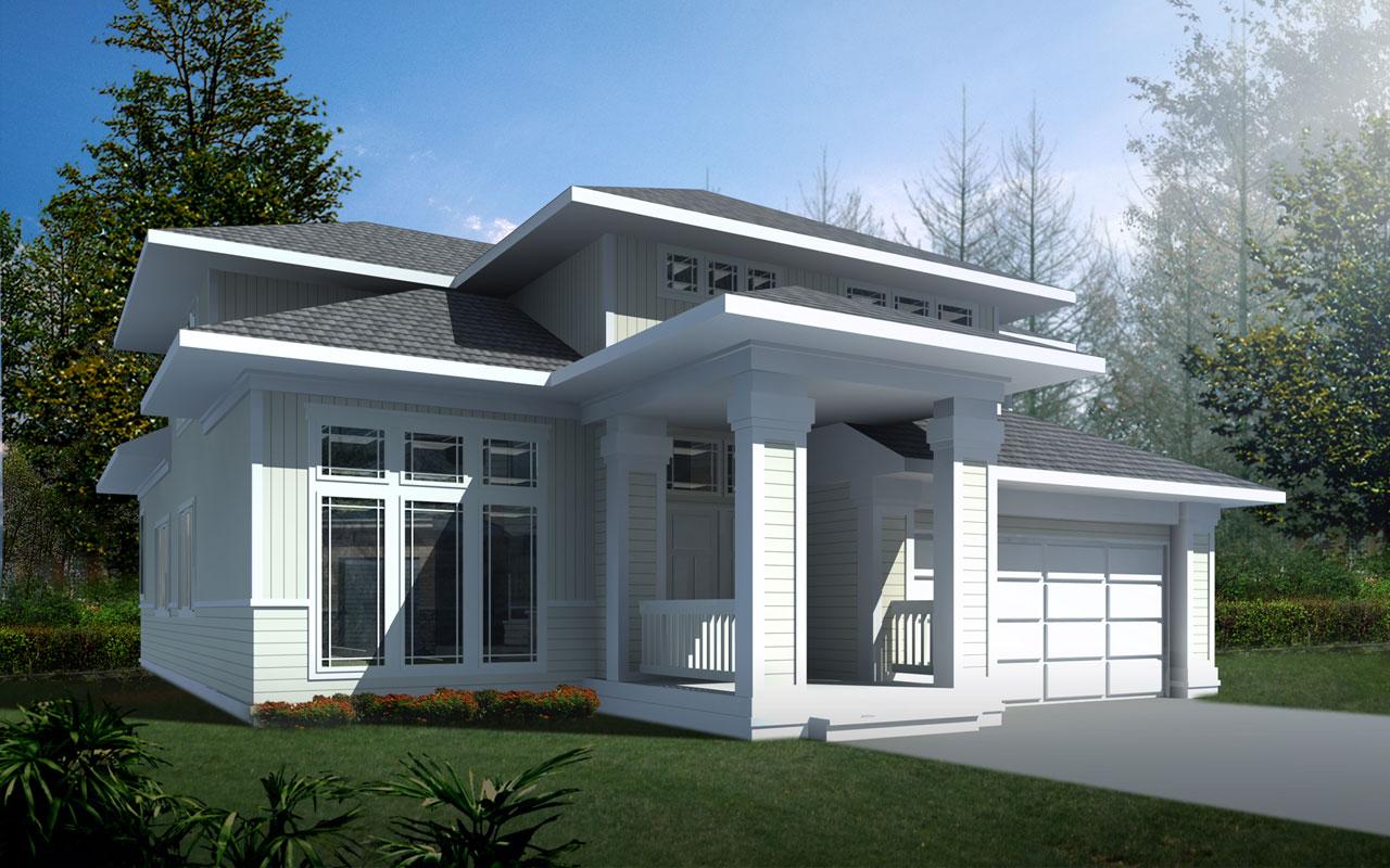 Prairie Style Home Design Plan: 1-266