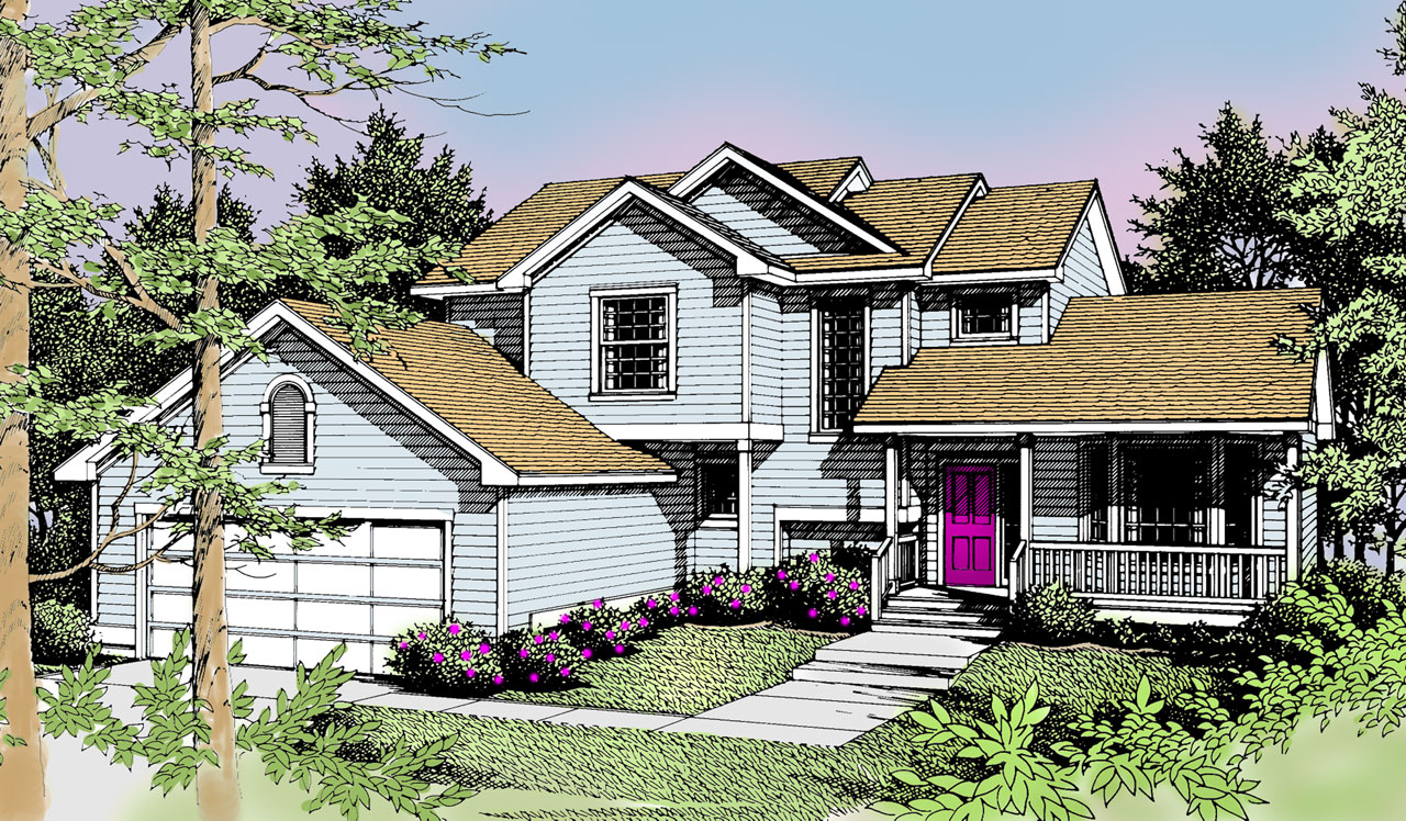 Traditional Style Home Design Plan: 1-268