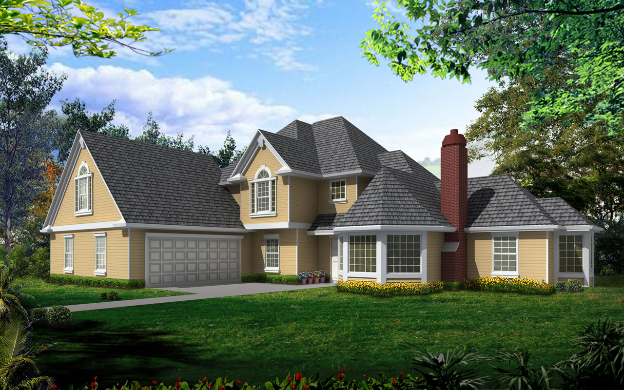 French-country Style Home Design Plan: 1-278