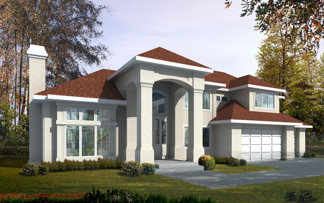 Mediterranean Style Home Design Plan: 1-285