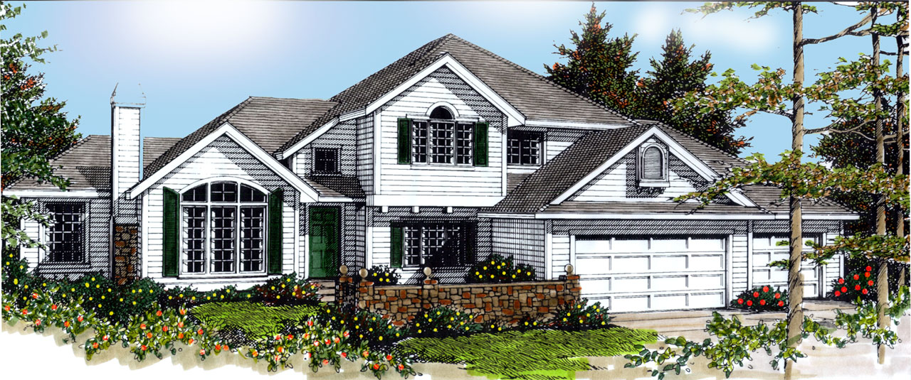 Traditional Style Home Design Plan: 1-304