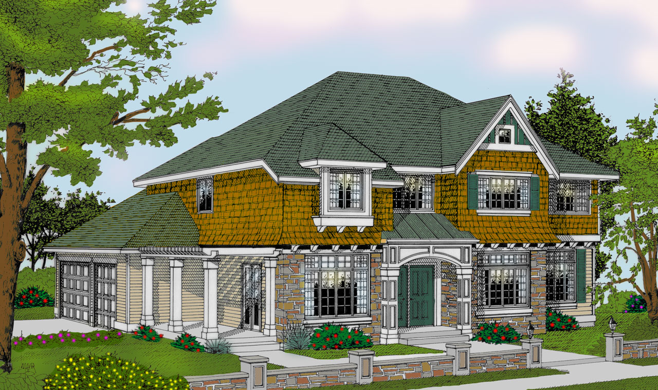 Shingle Style Home Design Plan: 1-323