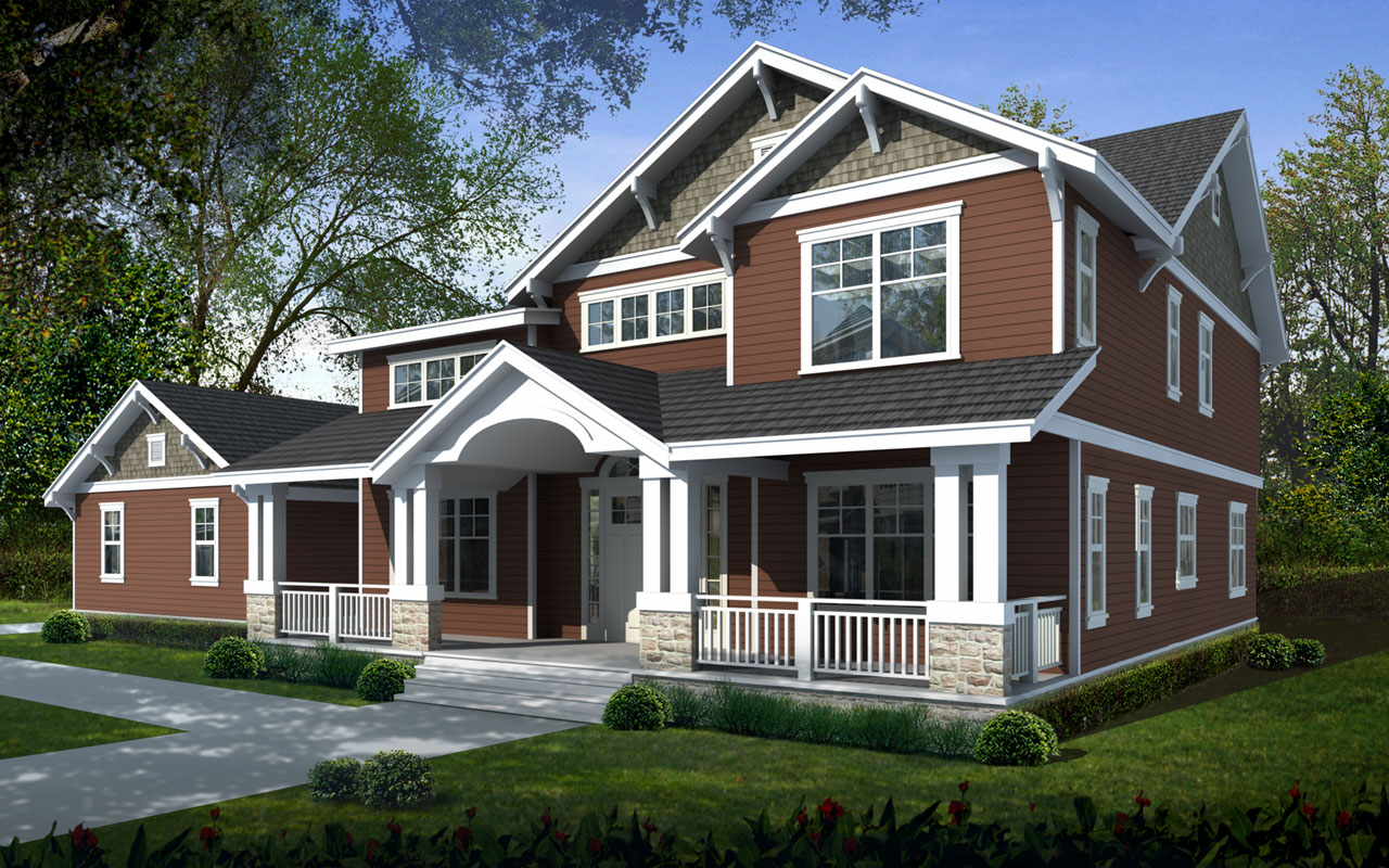 Craftsman Style Home Design 1-340