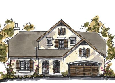 European Style Home Design Plan: 10-1034
