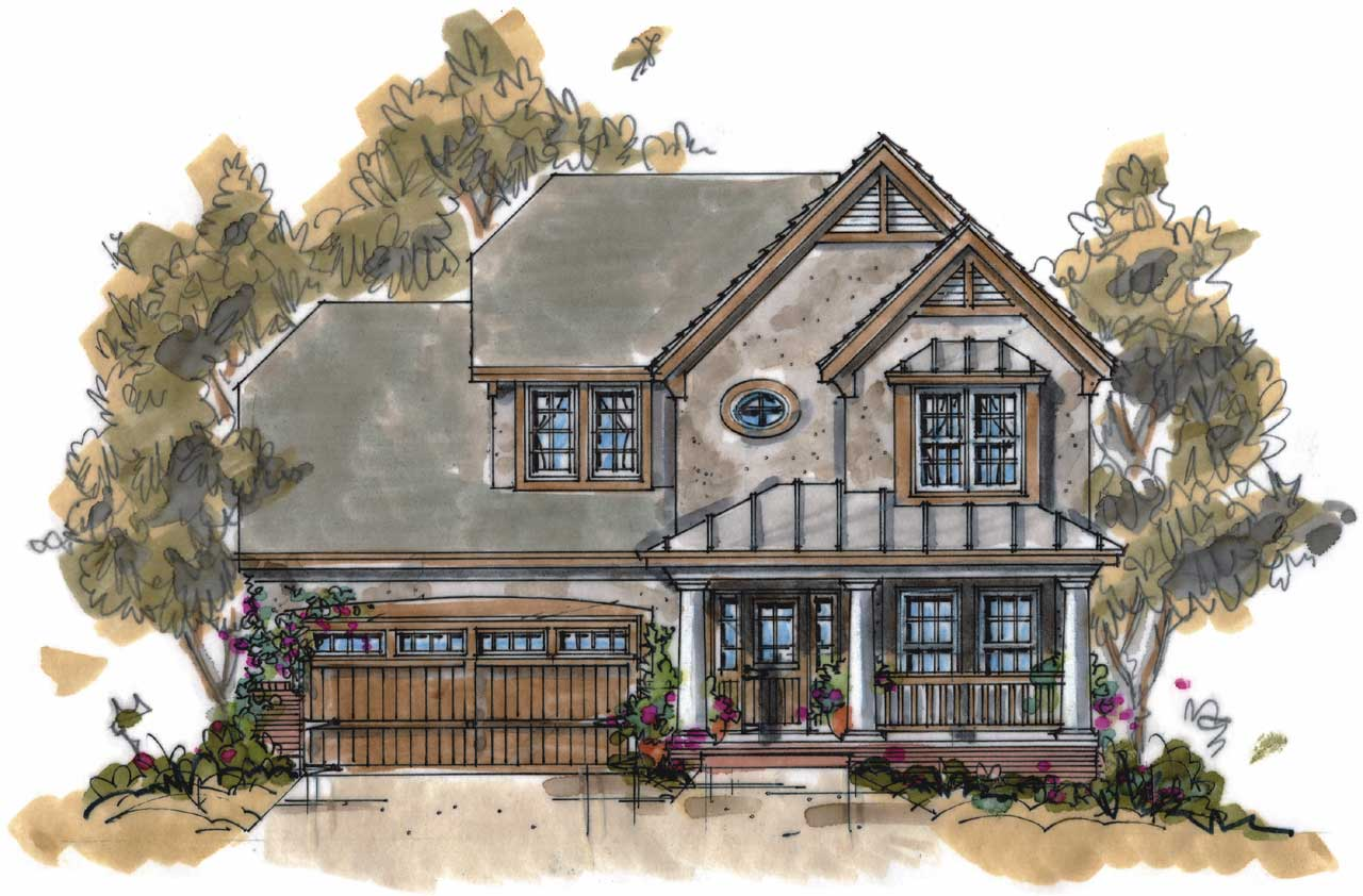 English-Country Style House Plans Plan: 10-1067