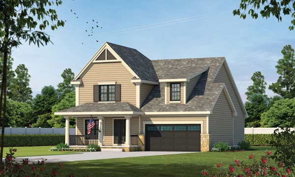 Country Style Home Design Plan: 10-1072