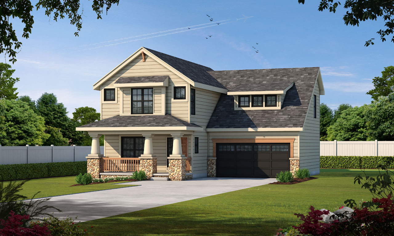 Craftsman Style Home Design 10-1083