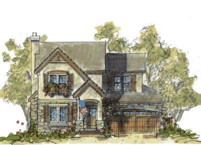 French-country Style Home Design Plan: 10-1085